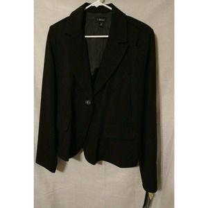 Woman's Black Striped Blazer by T. Milano; S 14